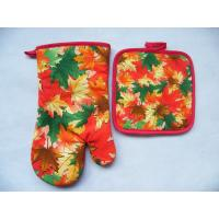 Autumn Leaves Printed Cook Heavy Duty Oven Mitts Potholder Set
