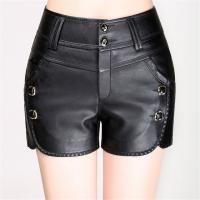 Wholesale Faux Leather PU Slim Fit  Black Womens Casual Shorts For Spring / Autumn / Winter from china suppliers
