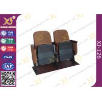 Wholesale Samller 560 MM Center Distance Strong Double Legs Wood Auditorium Chairs With Brown from china suppliers