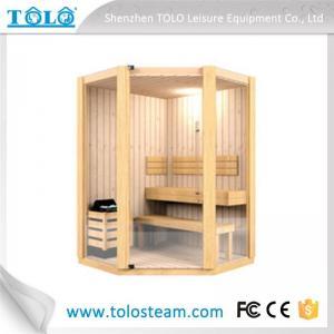 China Polygon cedar sauna cabins indoor for 3 person - 6 person on sale