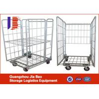 Quality Four-wheel Logistics Warehouse Trolley , Collapsible Roller Container Storage Racks of Logistics Trolley for sale