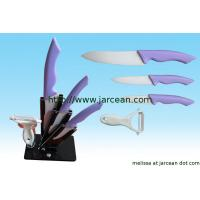 Quality kitchen ceramic knife set with block for sale