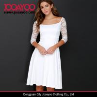 Wholesale Women Elegant Dress Design Fit and Flare Wide Neck Ivory Lace Midi Dress from china suppliers