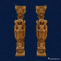 Wholesale Fully Hand Carved Marble Stone Column Statues With Lady Figures For Decorative from china suppliers