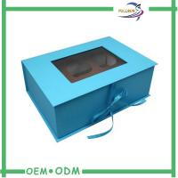 Wholesale Magnetic Paper navy blue gift boxes with Ribbon , Clear Window on Top from china suppliers
