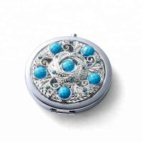 China custom make in mirror factory metal silver diamonds cosmetic mirror for girl`s on sale