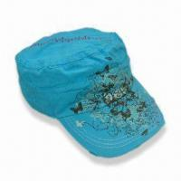 Wholesale Women's Military Cap with Glitter Prints, Embroidery and Washing Effect from china suppliers