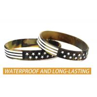 Wholesale USA Rubber Wristbands Silicone Bracelet with American Flag in Black and Army Green for American Patriots from china suppliers