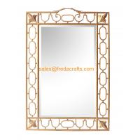 Wholesale Rectangle Shape Elegant Design Gold Finish Edge Bevelled Decorative Wall Mirror from china suppliers