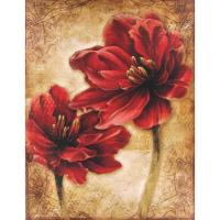 "Wholesale Wall Hung Decorative 16""x12"" Hand Painted Floral Canvas In Distressed Red from china suppliers"