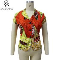 Wholesale Multi Color Short Sleeve African Print Tops Designs , African Style Women Shirts from china suppliers
