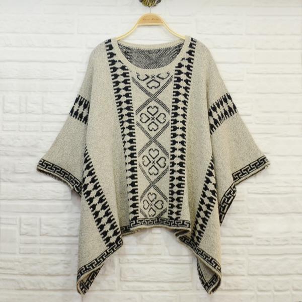 Aztec Knitting Patterns : Aztec pattern jacquard women knit poncho shawl , ladies wool ponchos of item ...