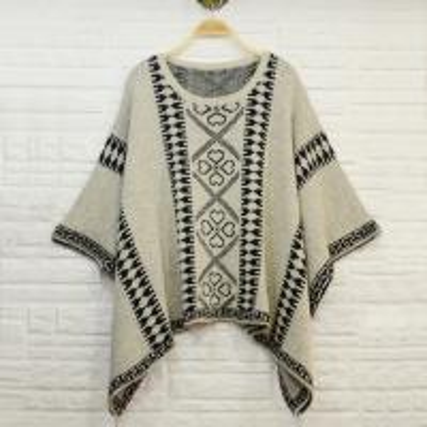 Aztec pattern jacquard women knit poncho shawl , ladies wool ponchos of item ...
