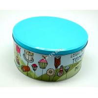Wholesale Blue Color Printed Big Metal Tin Box For Donuts And Cake Storage from china suppliers