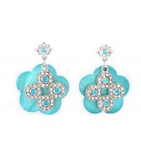 Wholesale Silver Mother Of Pearl Stud / Drop Earrings Jewelry Carved Diamond Blue Flower from china suppliers