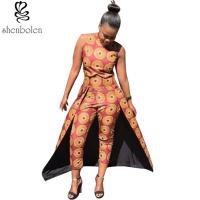 Wholesale Summer Women Tall Waist African Print Pants Line Nine Minutes 100% Cotton from china suppliers