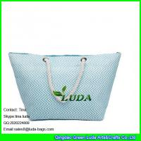 Wholesale LUDA sky blue chevron beach handbag totes large summer straw shopping bag women from china suppliers