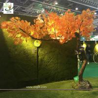 Wholesale UVG unique orange artificial maple tree with bent fiberglass trunk for indoor hall decoration GRE072 from china suppliers