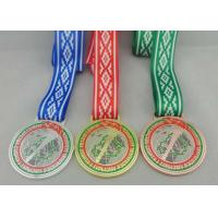 Wholesale Egg Hunt Triathlon Ribbon Medals Copper Plating , Full Color Printing from china suppliers