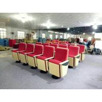 Quality Wood Panel Church Auditorium Chairs ABS Writting Pad Lecture Hall Chair 580mm Dimention for sale