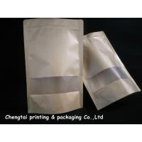 Wholesale Eco Friendly Kraft Paper Stand Up Pouch With Zipper / Semi Transparent Window from china suppliers