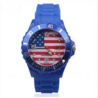Wholesale Dark Blue USA Country Flag Silicone Wristband Watch with Date Function from china suppliers