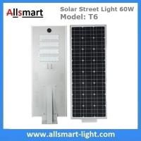 Wholesale 60W Integrated Solar Street Lights All in One Solar LED Street Light Radar Sensor Solar Lights with / without Pole from china suppliers