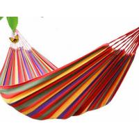 Wholesale Wholesale Outdoor travel hammock Double widened rainbow stripe Portable Canvas 2 preson swing leisure camping hammock from china suppliers