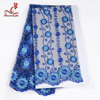 Wholesale African Cord Blue Embroidered Floral Lace Fabric 127 CM Polyester from china suppliers
