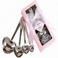 Wholesale 4pcs Stainless Steel Heart-shaped Measuring Spoons in Gift Box, Wedding Gift from china suppliers