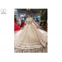 Wholesale Female Princess Grace Wedding Dress Half Sleeve Beaded Net Three Layer Lace Tail from china suppliers