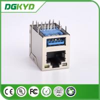 Quality Modular Jack RJ45 Stacked Over USB Rj45 Connector 3.0 X1F Cat6 W/ LED 1775855-3 for sale