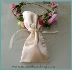 Quality black satin drawstring gift bag, black satin jewelry bag, satin gift pouch for sale