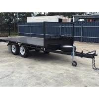 Wholesale 14 x 8ft Hydraulic Tipping Flat Top Tandem Trailer With Disc Brakes / LED Lights from china suppliers