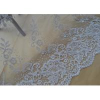 Wholesale Floral Embroidery Corded Lace Fabric , Bridal Sequin Mesh Fabric With Scalloped Edge from china suppliers