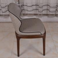 Quality PU Leather Dark Grey Restaurant Furniture Modern Dining Chair with Solid Wood Leg for sale
