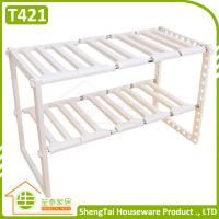 Wholesale Easy Installation Multilayer Kithchen Plastic Telescopic Storage Shelf from china suppliers