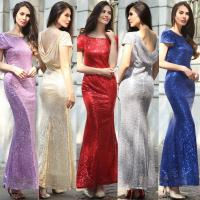 Buy cheap hot sale polyester short sleeve long women Bodycon evening beaded dress with gold sequin in red blue purple gray beige from wholesalers