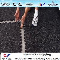 China Sound insulation fitness room rubber tiles interlock rubber gym flooring mat on sale