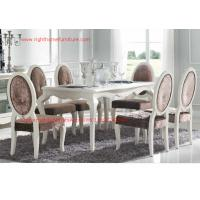 Wholesale Ivory Neoclassical Dining Room Furniture collection by rubber wood with Glass or Marble table top from china suppliers