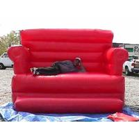 China Red Durable Pvc Tarpaulin Inflatable Sofa Air Bed Furniture , Inflatable Couch Furniture on sale