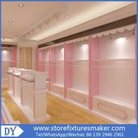 Quality Factory OEM Supplier mdf  wooden  in pink white lacquer Baby Girl Clothing Stores display furnitures for sale