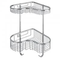 Wholesale Fancy bathroom dual tier wall hanging corner basket shower shelf from china suppliers