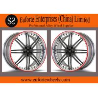 """Wholesale Susha wheels - 19 """" 20 """" 21 """" 22 """" 2PC Black Spokes Forged Custom Wheels With Silver Lip Red Ring from china suppliers"""