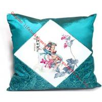 China Modern Decorative Silk Throw Pillows , Square Blue Silk Cushion For Hotel on sale
