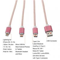 Quality Rose Gold Usb cable, lightning Micro Type C 3-in-1 Nylon Braided USB Fast Charging Cable Cord for sale