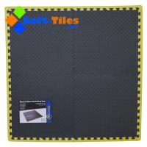 Quality Black Foam Interlocking Floor Tiles with yellow borders for sale