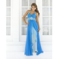Wholesale China Evening Dress/ Halter Beading Blue Chiffon Evening Dress for women,ladies from china suppliers