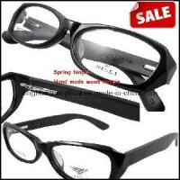 Wholesale Spring Hinge Black Grey Acetate Frame Wood Temple Optical Frame (6047) from china suppliers