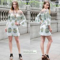 Quality straples printed women dress with balloon sleeve national dresses for sale